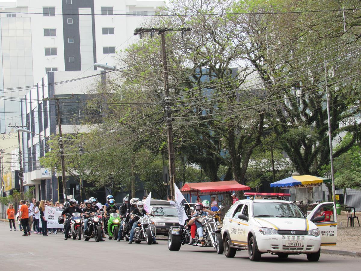 A Brigada Militar disponibilizou uma viatura para acompanhar a manifestação