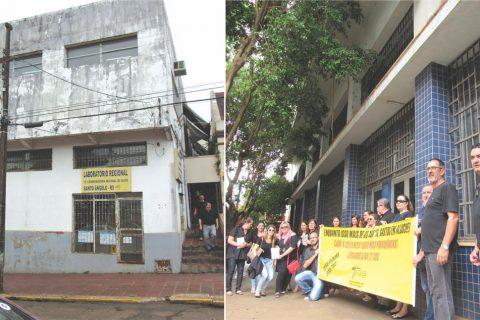 Foto superior: Atual prédio onde funciona a 12ª Coordenadoria de Saúde. Foto inferior servidores em frente ao antigo prédio do Banrisul em Santo Ângelo reivindicado para o funcionamento da Coordenadoria