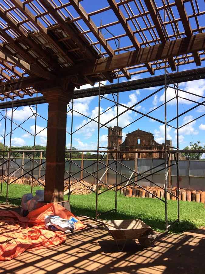 Obras de recuperação no Museu das Missões em São Miguel