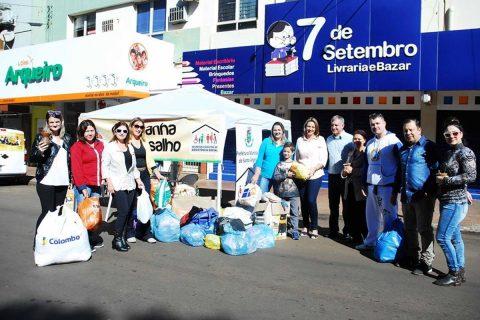 Doações foram arrecadadas durante a abertura oficial da Campanha do Agasalho no último domingo