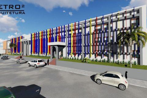 Imagem do projeto renderizado da fachada com as novas cores do Colégio Teresa Verzeri