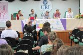 Mesa de debate no prédio 5 da URI mediada pela Prof. da Unipampa, doutora em comunicação Marcela Guimarães e Silva. Participaram deste seminário os professores Charlise Paula Colet Gimenez (URI Santo Ângelo), Tiago Costa Martins (OMiCult – Unipampa), Leandro Daronco (IFFar – Santo Ângelo), Lívio Arenhart (UFFS – Cerro Largo)