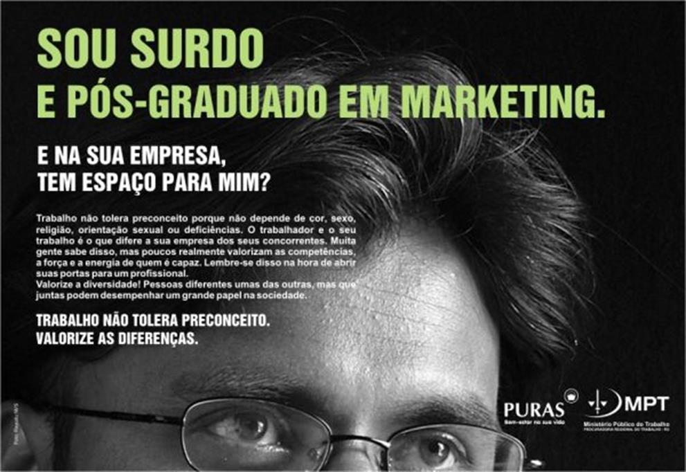 """Anúncio da """"Diversidade no Trabalho"""", de 2009, era o """"Texto 3"""" dos """"Textos Motivadores"""" do tema """"Desafios para a formação educacional de surdos no Brasil"""""""