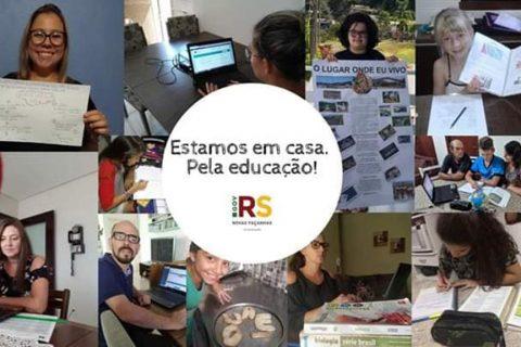 Montagem de fotografias mostram professores e alunos em atividade -  Divulgaão 14ª CRE
