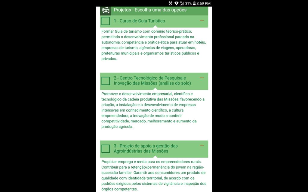Descrição das demandas do Corede Missões