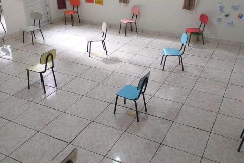 Sala de uma escola de educação infantil vazia