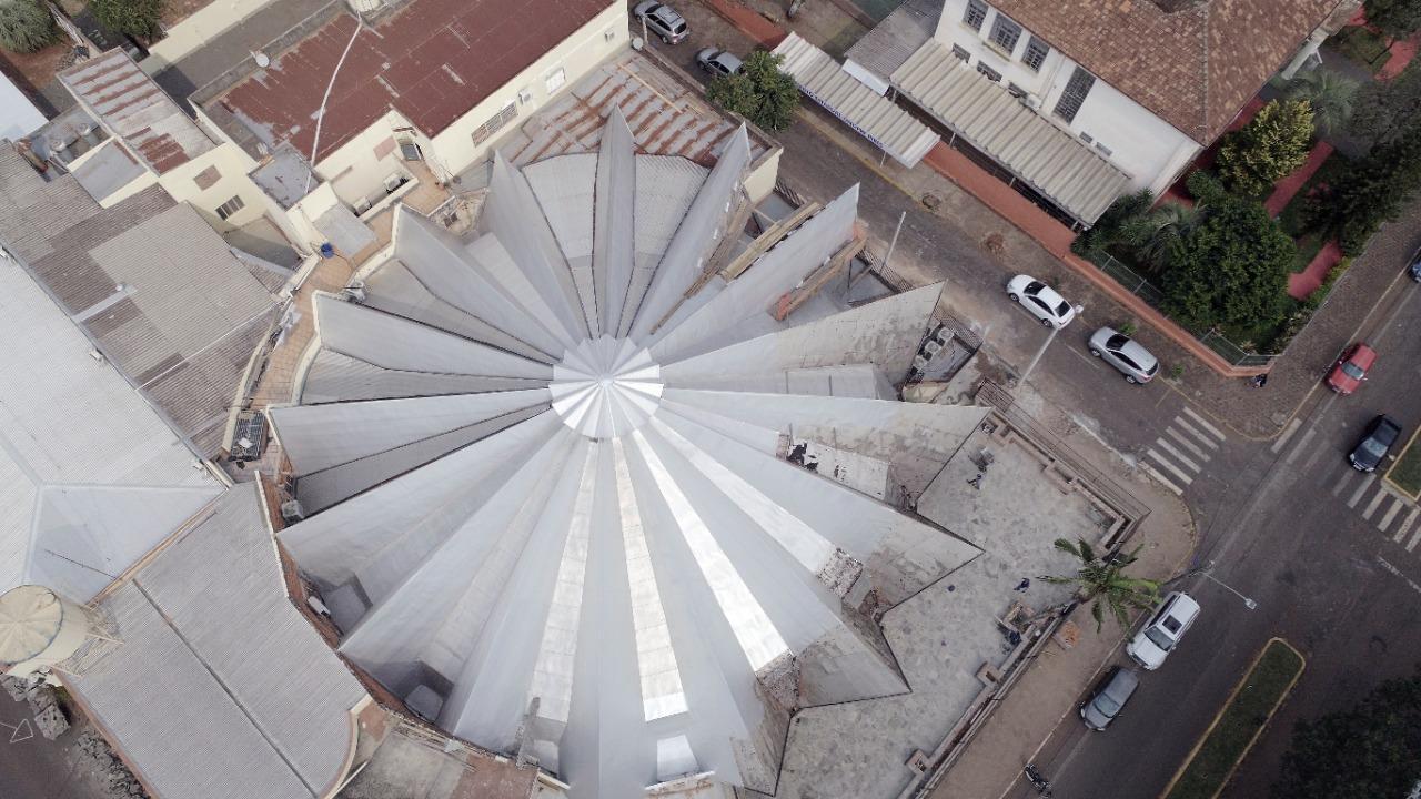 Vista aérea da cobertura da sede social do Clube Gaúcho - Foto: Prisma Vídeos
