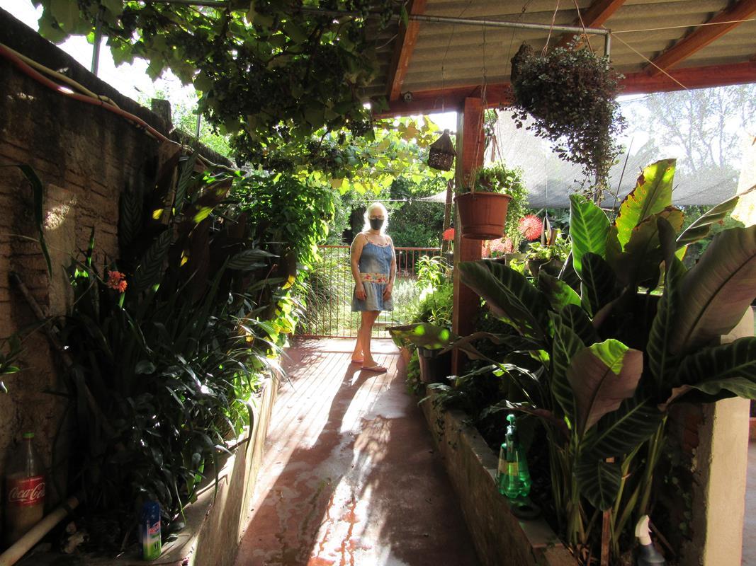Corredor com plantas ornamentais