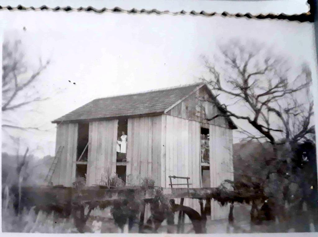 A foto guardada por Doris Pydd Libert mostra a construção do antigo moinho da Família de Rudolfo Reinold Pydd. (A mulher de branco que aparece na foto é Giselda Pydd)