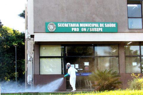 Sanitização na sede da Secretaria de Saúde de Santo Ângelo (realizada em março | foto ilustrativa) - Foto: Marcos Demeneghi