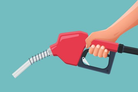 Hand is holding fuel nozzle pump. Vector illustration