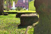 Remanescentes arqueológicos do sítio de Santo Ângelo Custódio expostos na Praça Pinheiro Machado Foto - Marcos Demeneghi